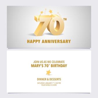 Ilustración de tarjeta de invitación de aniversario de años.