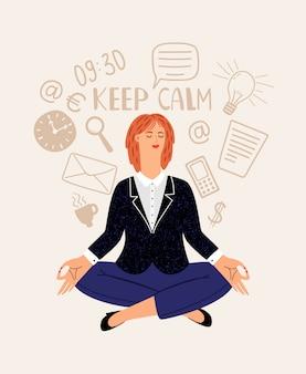Ilustración de tarjeta de meditación de oficina de mujer