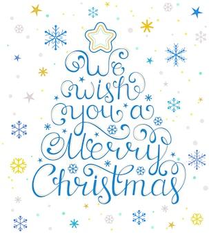 Ilustración de tarjeta de navidad con árbol y copos de nieve
