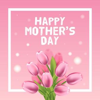 Ilustración de tarjeta de vector de feliz día de las madres con tulipán rosa