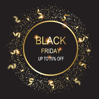 Ilustración de tarjeta de viernes negro sobre fondo negro.