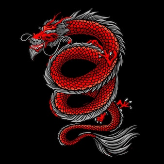 Ilustración de tatuaje de dragón