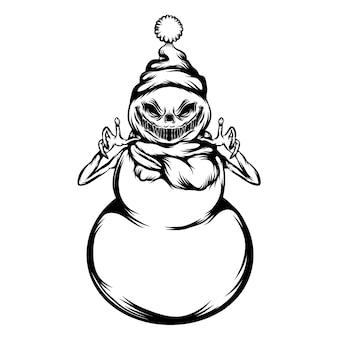 La ilustración del tatuaje del muñeco de nieve asustado para halloween usa el sombrero de navidad