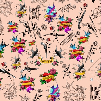 Ilustración de tatuaje, pistola, cuchillo y rosa.
