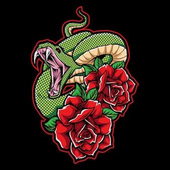 Ilustración de tatuaje de serpiente verde con rosas