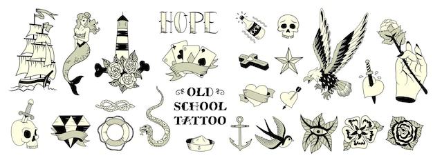 Ilustración de tatuajes de la vieja escuela