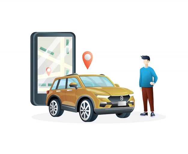 Ilustración de taxi en línea