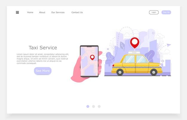 Ilustración de taxi plano, mano con llamadas telefónicas de taxi, concepto de servicio de taxi.