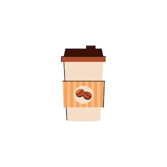 Ilustración de una taza de café de papel con café caliente