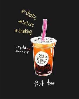 Ilustración de taza de té de burbuja
