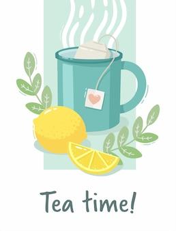 Ilustración de una taza con té caliente con limón