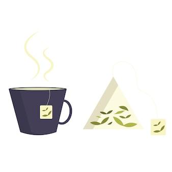 Ilustración de una taza de té h caliente icono de bolsa de té