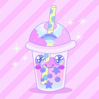 Ilustración de té de burbujas kawaii con estrellas