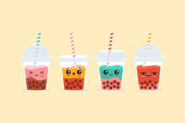 Ilustración de té de burbujas kawaii