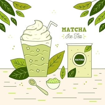 Ilustración de té helado matcha