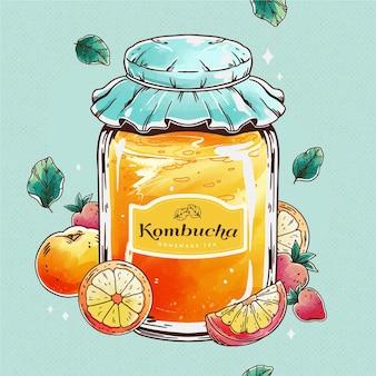 Ilustración de té de kombucha acuarela