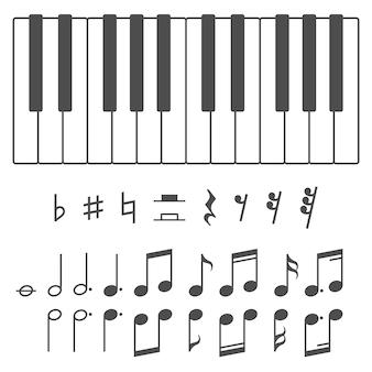 Ilustración de teclas y notas de piano