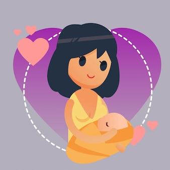 Ilustración de técnica de lactancia materna