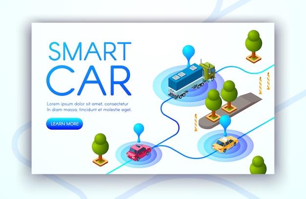 Ilustración de la tecnología del automóvil inteligente de seguimiento de ubicación del vehículo o radares gps.