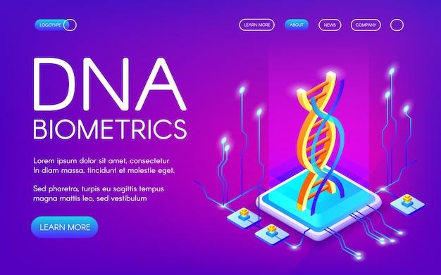 Ilustración de tecnología biométrica de adn para el reconocimiento de identidad personal.