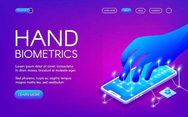 Ilustración de tecnología biométrica de mano de reconocimiento digital para identidad personal.