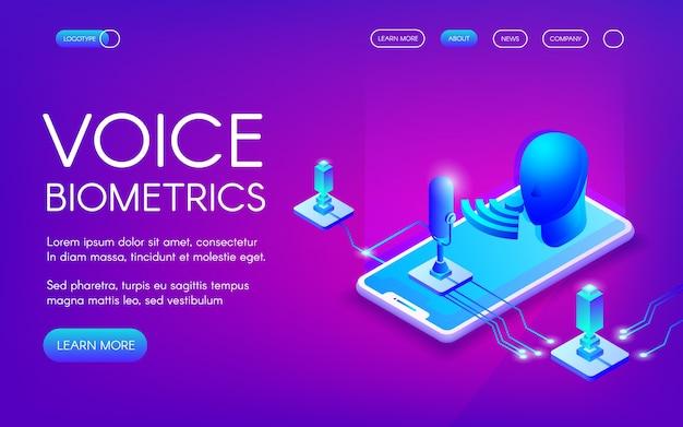 Ilustración de tecnología biométrica de voz para reconocimiento de identidad personal