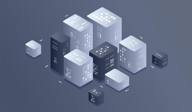 Ilustración de tecnología digital isométrica. algoritmos de aprendizaje automático de big data.