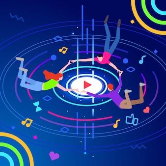 Ilustración de tecnología de entretenimiento de música en línea isométrica moderna