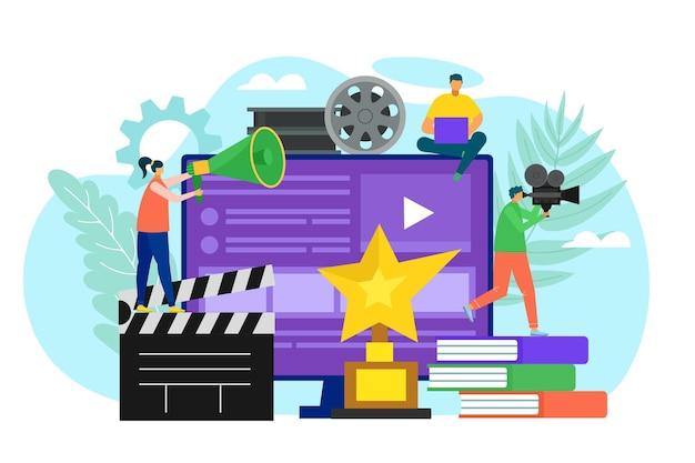 Ilustración de la tecnología de filmación de películas en la pantalla.