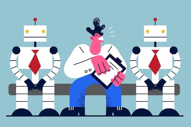 Ilustración de tecnología y humanos versus robots