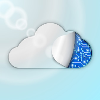 Ilustración de tecnología informática en la nube. mecanismo o microchips encubiertos.