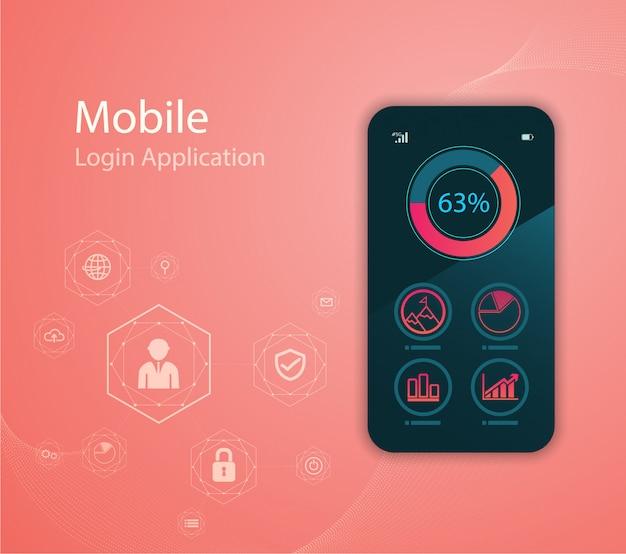 Ilustración de la tecnología de los medios de comunicación con el teléfono móvil y los iconos.