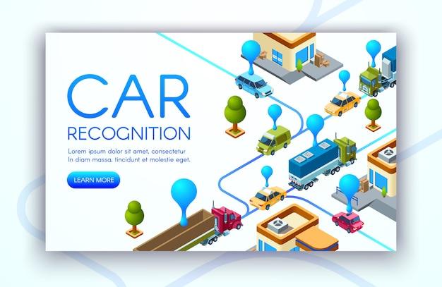 Ilustración de la tecnología de reconocimiento de automóviles de matrículas de vehículos.