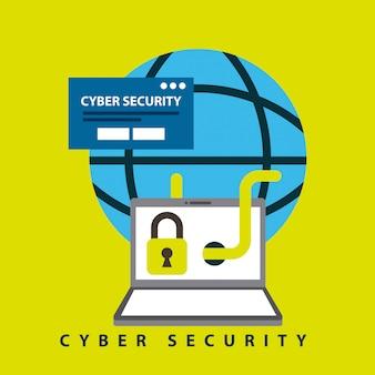 Ilustración de tecnología de seguridad cibernética