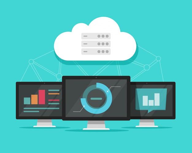 Ilustración de tecnología de servidores de datos de computación en la nube