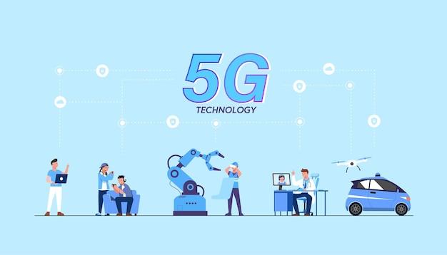 Ilustración de tecnología wifi de internet inalámbrico de alta velocidad de red global 5g