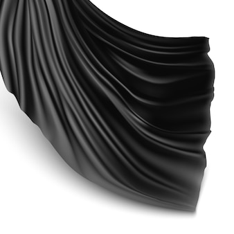 Ilustración con tela de seda negra