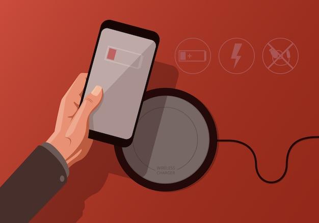 Ilustración con teléfono inteligente y cargador inalámbrico sobre fondo rojo.