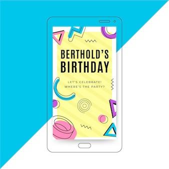 Ilustración de teléfono inteligente de invitación de cumpleaños