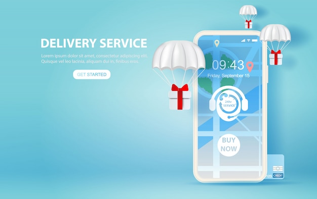 Ilustración de teléfono inteligente con servicio de entrega en línea