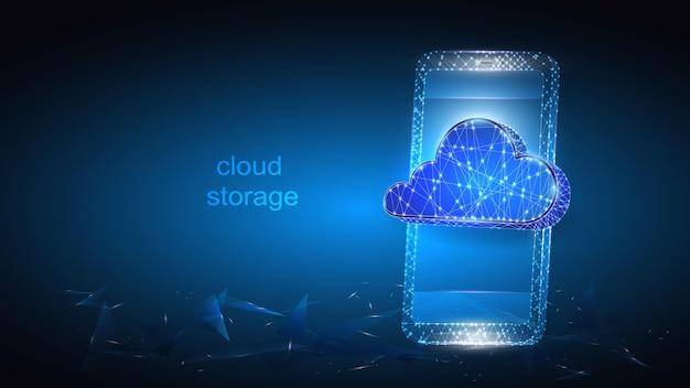 Ilustración de un teléfono móvil con una imagen de un almacenamiento de datos en la nube virtual.