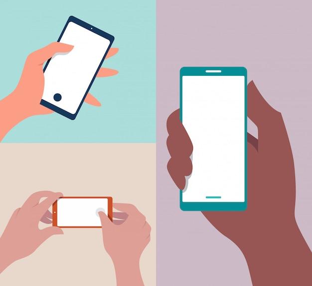 Ilustración de teléfono móvil en mano