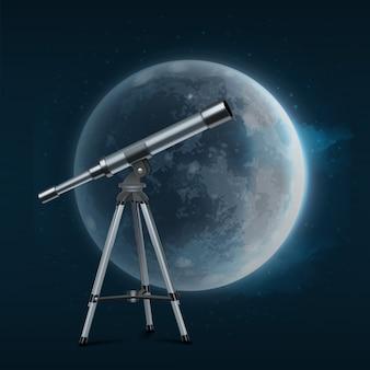 Ilustración del telescopio plateado sobre trípode con luna llena sobre fondo azul estrellado