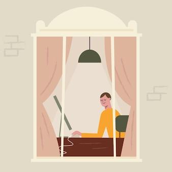 Ilustración de teletrabajo