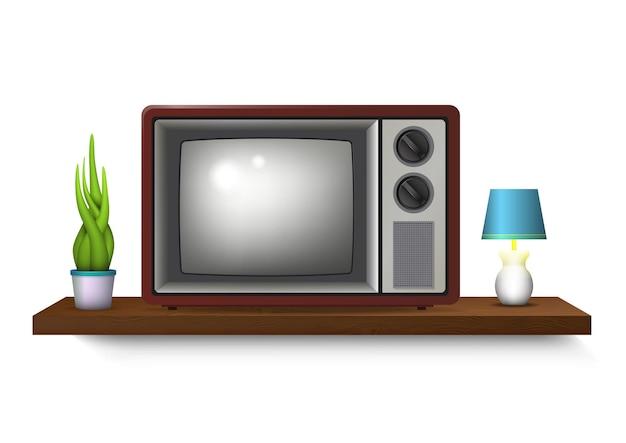 Ilustración de televisión retro realista con jarrón y lámpara de mesa