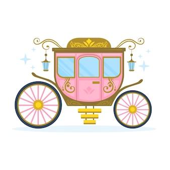 Ilustración con tema de carro de cuento de hadas