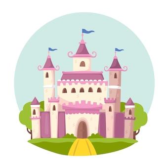Ilustración con tema de castillo de cuento de hadas