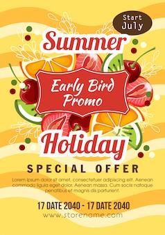 Ilustración de tema de fruta de promo de aves de vacaciones de verano temprano