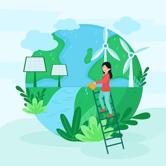 Ilustración con el tema guardar el planeta