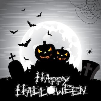 Ilustración en un tema de halloween en un fondo de la luna.
